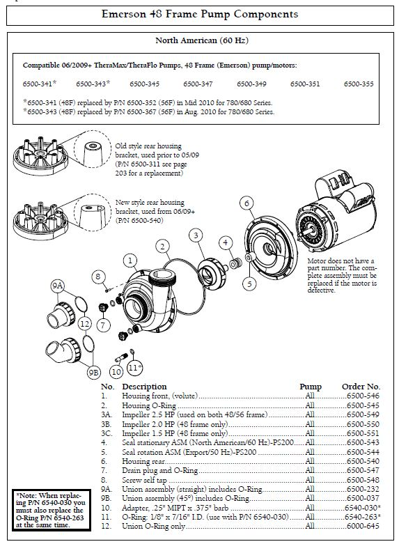 emerson_48fr__components sundance spa thermax theraflo 2 5 hp, 1 speed, 240 volt motor pump dimension one spa wiring diagram at fashall.co