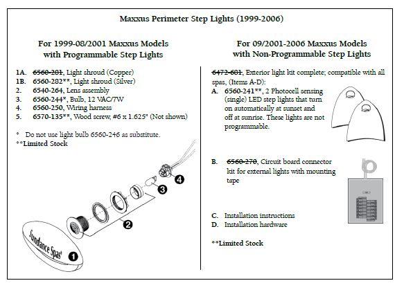 sundance spa perimeter step light lens assembly